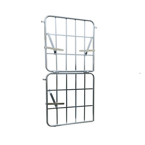 metal front wall, 1.640 x 650 mm, turnable and half collapsible, Cr 3 blue zinc