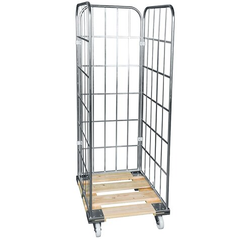 rollcage with wooden base, type 724 x 810 mm, type 3-sided
