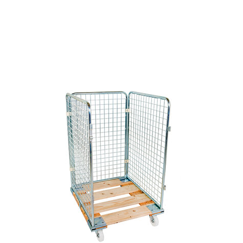 rollcage with wooden base, 724 x 810 mm, type 3-sided