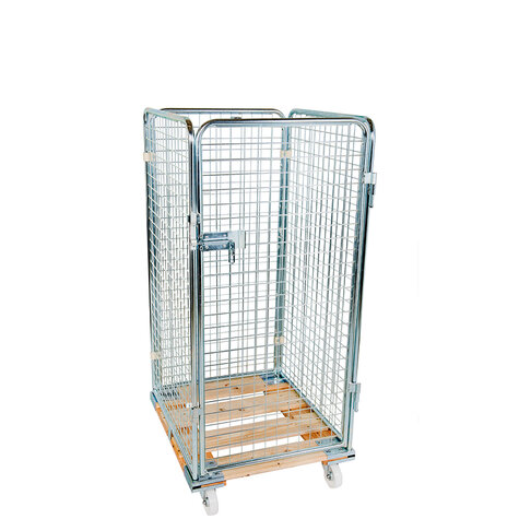 rollcage with wooden base, 724 x 810 mm, type 4-sided