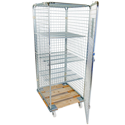 rollcage with wooden base, 724 x 810 mm, type 5-sided ANTI-THEFT