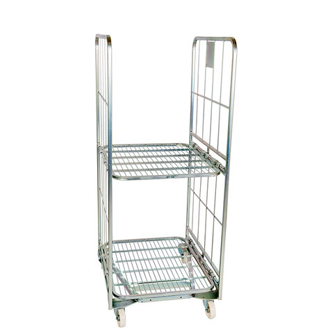 nestable metal rollcage, 700 x 800 mm, with 2 x metal base, type 2-sided