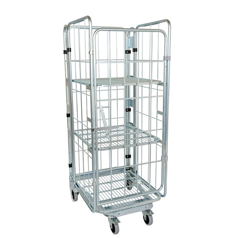 nestable metal rollcage, 730 x 815 mm, with 3 x metal base, type 4-sided