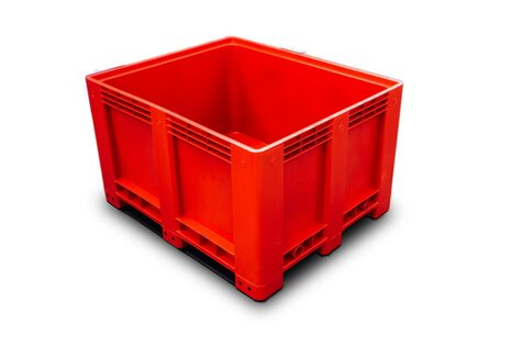 Big-Box 1200 x 1000 mm closed version with 3 skids red