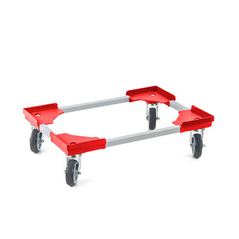 transportroller, 415 x 615 mm, type steel frame with plastic egdes, ø 100 mm PP/TPE castors
