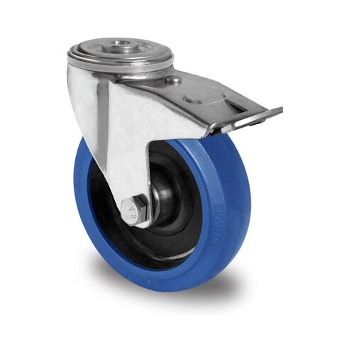 swivel castor with bolt hole and total brake, ø 125 mm