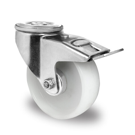 swivel castor with bolt hole and total brake, ø 108 mm