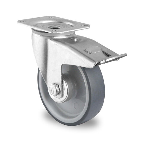 swivel castor, ø 100 mm with total brake