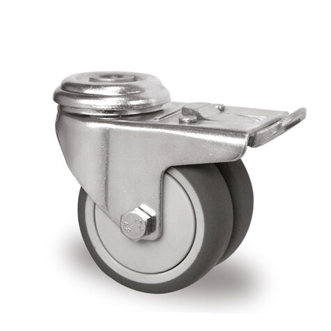swivel castor with bolt hole and total brake, ø 75 mm