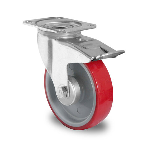 swivel castor, ø 125 mm with total brake