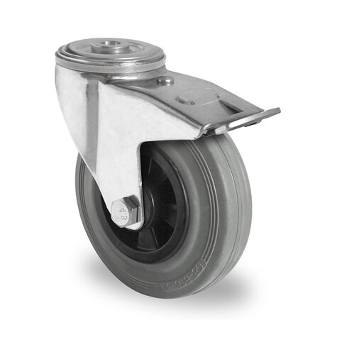 swivel castor with bolt hole and total brake, ø 160 mm