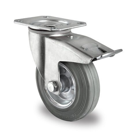 swivel castor, ø 80 mm with total brake