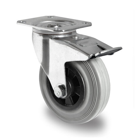 swivel castor, ø 200 mm with total brake