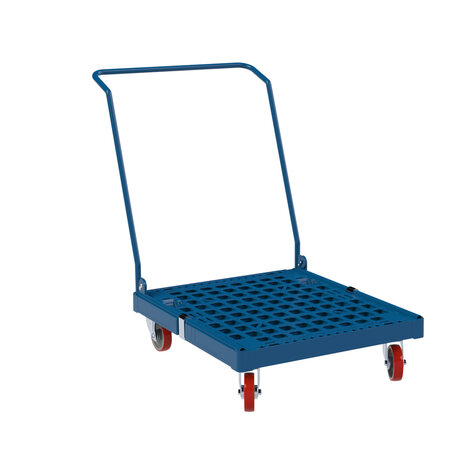 Plastic pallet with handle, dark blue RAL 5010, PU